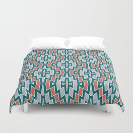 Tribal Diamond Pattern in Teal, Coral and Gray Duvet Cover