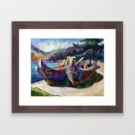 Emily Carr, First Nations War Canoes in Alert Bay Framed Art Print