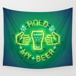 Hold My Beer Neon Sign Green Wall Tapestry