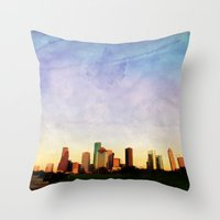 houston Throw Pillows featuring Houston Skyline by Tracy Carlson Photography
