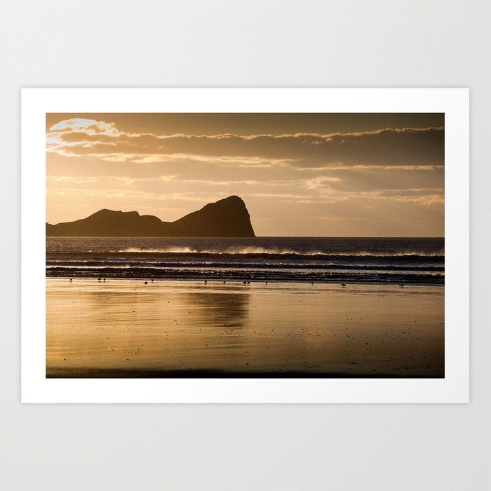 Rhossili Beach And Worms Head Art Print By Leightoncollins Society6