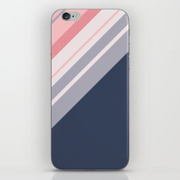 Blue and pink diagonal stripes iPhone Skin