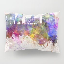Lublin skyline in watercolor background Pillow Sham