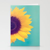 sunflower Stationery Cards featuring Sunflower by Debbie Wibowo