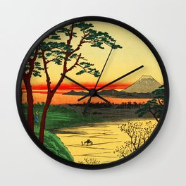 Japanese Tea House on River Wall Clock