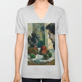 1886 - Gauguin - Still Life with Profile of Laval Unisex V-Neck