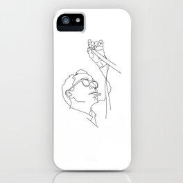 Jean-Luc Godard minimal line drawing iPhone Case
