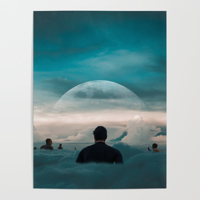 Surfing In The Clouds Poster By Karadocart
