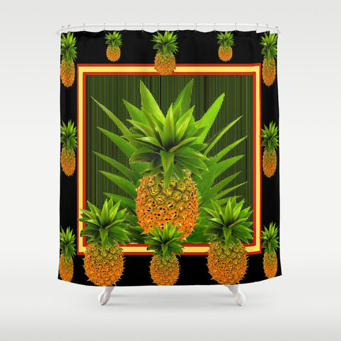 MODERN ART GREEN-BLACK  HAWAIIAN PINEAPPLE ART Shower Curtain