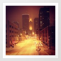 minneapolis Art Prints featuring Minneapolis by SaltyDesigns