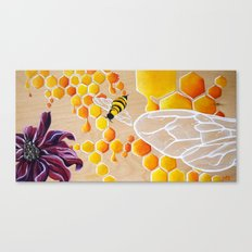 Save the Bees! Honey Bee Honeycomb Painting Geometric pattern Sweet Honey Insect and flower art Canvas Print