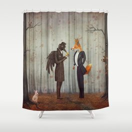 Raven and Fox in  a dark forest looking at the watch Shower Curtain