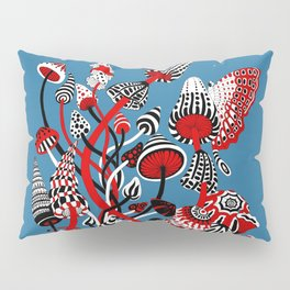 Magic Mushroom Red black blue Pillow Sham