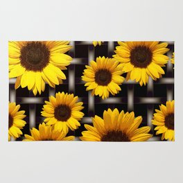 Bright Yellow Sunflower and Industrial Grid Pattern Rug
