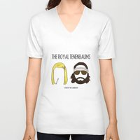 the royal tenenbaums V-neck T-shirts featuring The Royal Tenenbaums by gokce inan