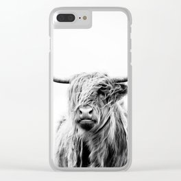portrait of a highland cow Clear iPhone Case