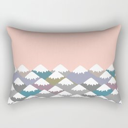 Nature background with Mountain landscape. Gray, pink, blue navy mountain with snow-capped peaks. Rectangular Pillow