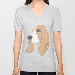 Basset Hound - one line drawing Unisex V-Neck