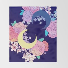 Floral Moon Throw Blanket