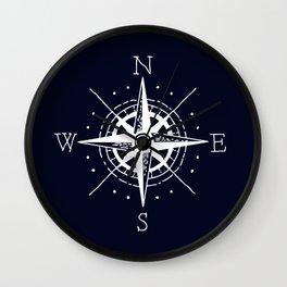 Navy Nautical - White Compass Wall Clock