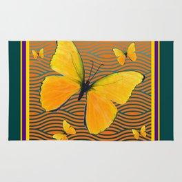 Dark Teal Yellow Butterflies Pattern Rug