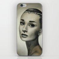 hepburn iPhone & iPod Skins featuring Audrey Hepburn by Claire Lee Art