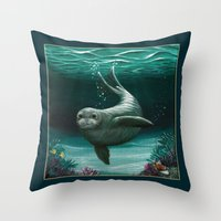 hawaiian Throw Pillows featuring Hawaiian Monk Seal ~ Acrylic by Amber Marine
