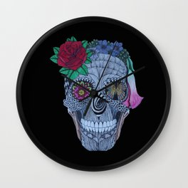 Lady Skull ready to party Wall Clock