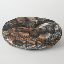 Autumn Fractal Pheasant Feathers in DaVinci Style Floor Pillow