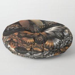 Autumn Fractal Pheasant Feathers in DaVinci Style Floor Pillow