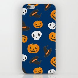 Spooky Halloween Pattern with Pumpkins, Skulls and Wizard Hats on Blue Background iPhone Skin