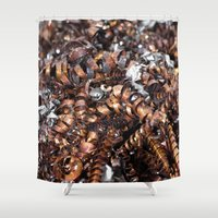 copper Shower Curtains featuring Copper cuttings by Christine baessler