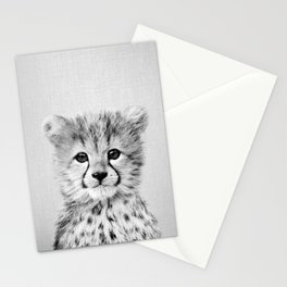 Baby Cheetah - Black & White Stationery Cards