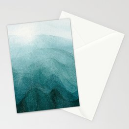 Sunrise in the mountains, dawn, teal, abstract watercolor Stationery Cards
