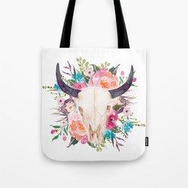 Watercolor bull skull with flower garland Tote Bag