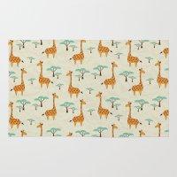 giraffes Area & Throw Rugs featuring Giraffes by BlueLela