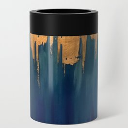 Gold Leaf & Blue Abstract Can Cooler