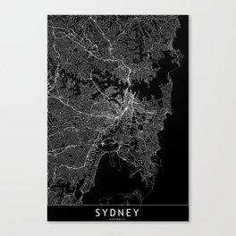 Sydney Black Map Canvas Print