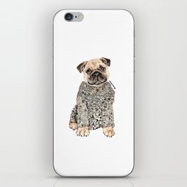 Pug Zentangle Doodle Black and White Pen Realistic Drawing iPhone Skin