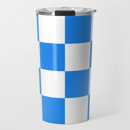 Large Checkered - White and Dodger Blue Travel Mug