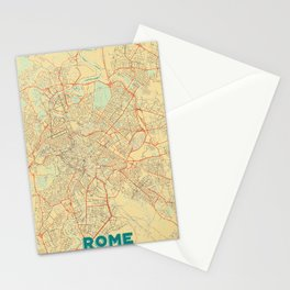 Rome Map Retro Stationery Cards