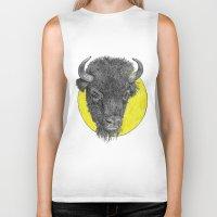 bison Biker Tanks featuring Bison by Triple_S_Art