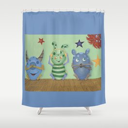 No Evil Monster Babies Shower Curtain
