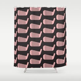 Golf Club Head Vintage Pattern (Black/Pink) Shower Curtain
