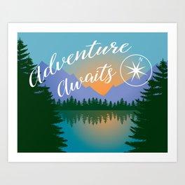 Adventure Awaits, Inspirational Landscape Art Print