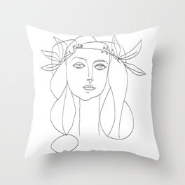 Picasso Line Art - Woman's Head Throw Pillow