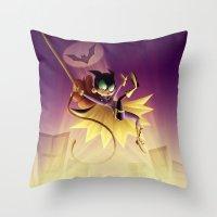 batgirl Throw Pillows featuring Batgirl by Eileen Marie Art