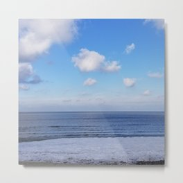 Bright skies, snow and ice with Lake Erie Metal Print