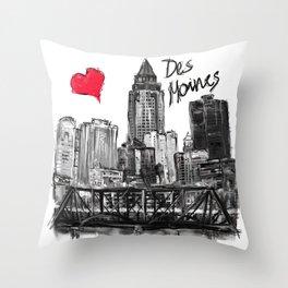 I love Des Moines Throw Pillow