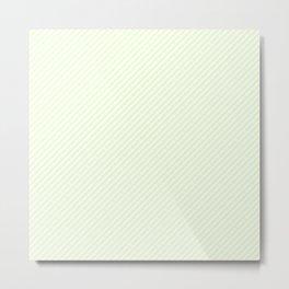 Mini Soft Pale Celery Green Pastel and White Candy Cane Stripes Metal Print